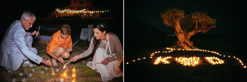 velas en boda de noche