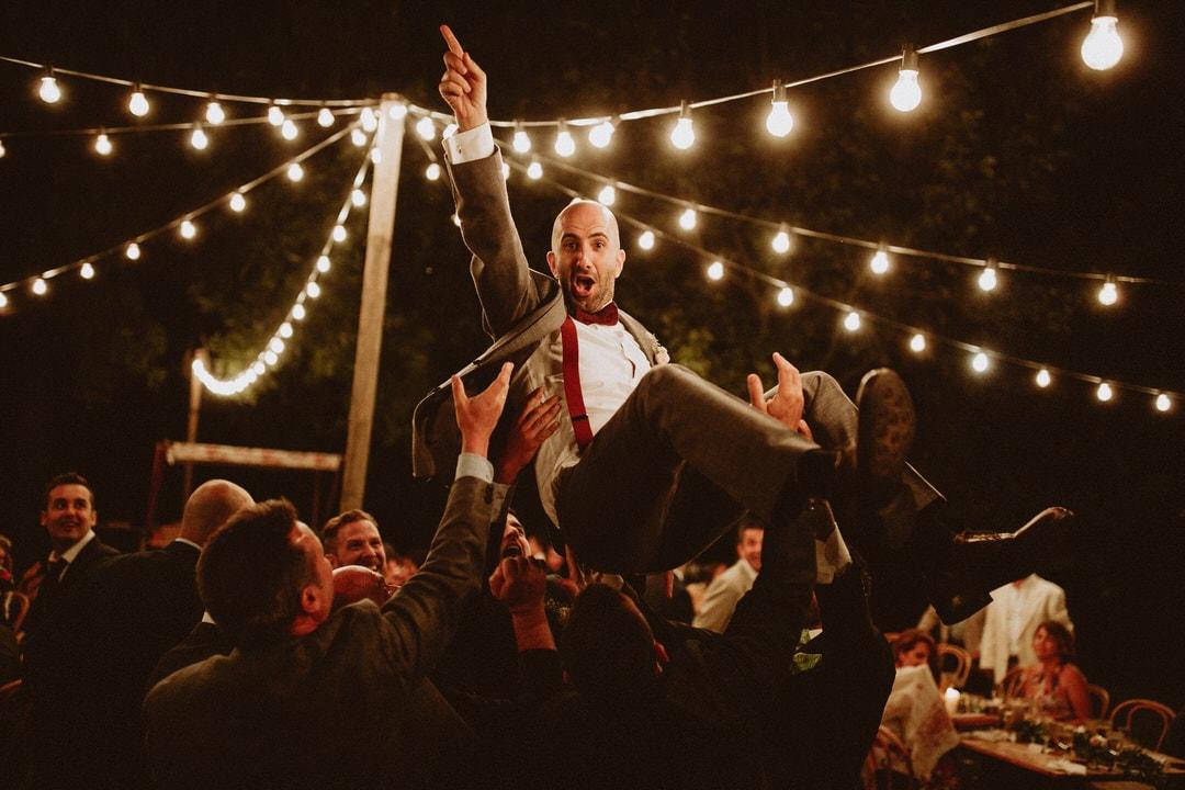 cena boda verbena luces